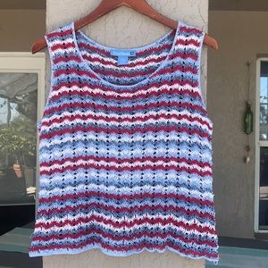 Evan-Picone, tank top, holey crocheted sweater.